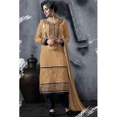 Deep Peach Yellow Faux Georgette Embroidered Festival Pant Kameez