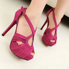 High Heel Sandals With Straps #fashiondrop #footwear #shoes #heels #purple #style
