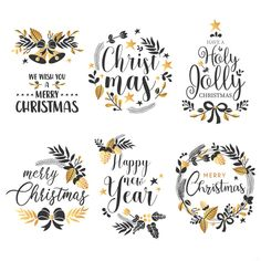 Christmas badge collection with quotes and golden ornaments Free Vector Watercolor Christmas Cards, Christmas Drawing, Diy Christmas Cards, Christmas Clipart, Christmas Christmas, Christmas Decorations, Xmas, Christmas Ornaments, Clipart Noel