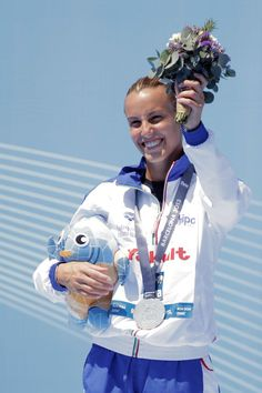 Silver medallist Tania Cagnotto of Italy celebrates after coming second in the Women's 1m Springboard Diving final on day four of the 15th FINA World Championships at Piscina Municipal de Montjuic on July 23, 2013 in Barcelona, Spain.