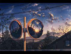 鏡の中の夕空