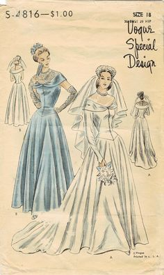 Wedding Dress Pattern Vogue Special Design Vintage Bridal Gown And Bridesmaid Gown. Vogue Dress Patterns, Vintage Dress Patterns, Vogue Sewing Patterns, Vintage Gowns, Vintage Bridal, Clothes Patterns, Dress Vintage, Vintage Clothing, Vintage Vogue