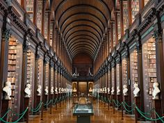 Dublin's Trinity College—the oldest university in Ireland—has no shortage of beautiful buildings and green lawns, but the main attraction is the Old Library's Long Room. The vast hall holds 200,000 books and 14 marble busts under its barrel-vaulted ceiling—with the intricately illustrated Book of Kells the centerpiece of a bibliophilic dream.