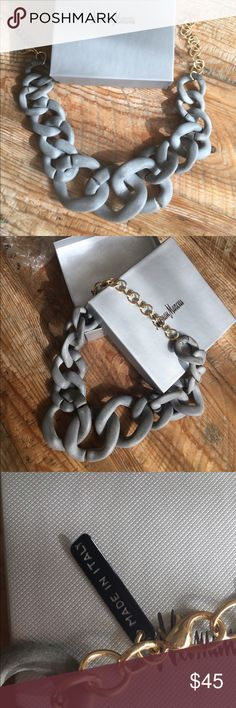 Alisha d. Resin linked necklace with gift box. Cement colored statement necklace with multiple length options (21 inch max). Original gift packaging included. Never worn. alisha d. from neiman marcus Jewelry Necklaces