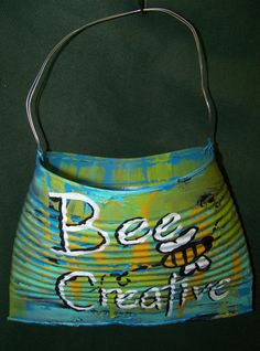 Upcycled Recycled Hand Painted OOAK Shabby Tin Can