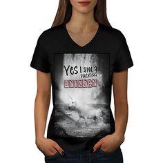 ich bin Einhorn Meer Komisch Mythos Pferd Damen XL V-Ausschnitt T-shirt   db70179ba1