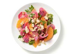 No-Cook Beet-Orange Salad Recipe (orange juice/sherry vinegar/dijon + oranges/mint/almonds/goat cheese)