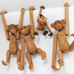 Lot of 1960s Articulated Wood Monkeys/ Retro by shopkeeparlington