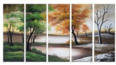 Four Seasons on a Cloudy Day 5 Piece Original Painting on Canvas Set