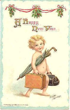 """"""" Happy New Year """" Vintage Artist Frances Brundage Post Card. Published by Sam Gabriel, card # 302 of the New Years Artistic Post Card series with a DB-UNU and in Excellent condition. Karodens Vintage Post Cards."""