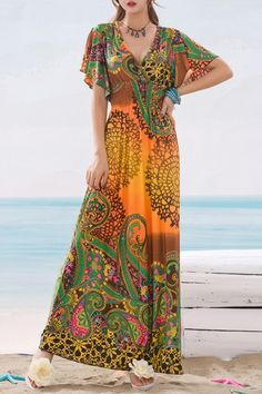 Ethnic Print V Neck Short Sleeve Maxi Dress