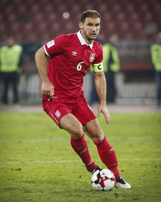 Branislav Ivanovic of Serbia in action during the FIFA 2018 World Cup Qualifier between Serbia and Austria at stadium Rajko Mitic on October 9, 2016 in Belgrade, .