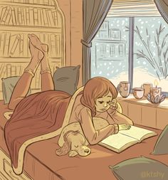 "Keeping cozy and dreaming of book nooks ♥Also this started out as a drawing of ""random girl and pet"" and ended up turning into fan art of my sister @hesbell and her pup Puddin'. What can I say, I love those cuties."