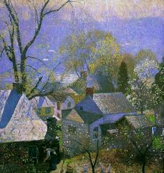 Landscape Painting by American Impressionist Artist Daniel Garber Springtime in the Village, 1917 Impressionist Landscape, Impressionist Artists, Landscape Art, Landscape Paintings, Spring Landscape, American Impressionism, Gustav Klimt, American Artists, Love Art