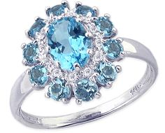 14K White Gold Swiss Blue Topaz Gemstone and Diamond Flower Ring