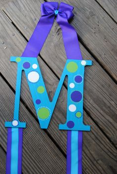 Hair Bow Hanger with Initial and Ribbon.