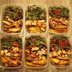 Meal Prep Recipe: Roasted Potato Wedges and Marinated Chicken Souvlaki