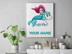 Mermaid riding Unicorn Personalized unicorn canvas wall decor for kids personalised unicorn canvas ready to hang on the wall picture by funkytshirtsfactory on Etsy Unicorn Wall, Canvas Wall Decor, Canvases, Picture Wall, Mermaid, Cool Stuff, Kids, Pictures, Handmade