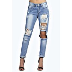 Boohoo Blue Sara Relaxed Fit Open Knee Boyfriend Jeans ($44) ❤ liked on Polyvore featuring jeans, pants, blue, slouchy boyfriend jeans, basic t shirt, relaxed skinny jeans, basic tshirt and relaxed fit boyfriend jeans