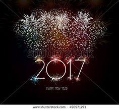 Happy New Year 2017 Fireworks Background.