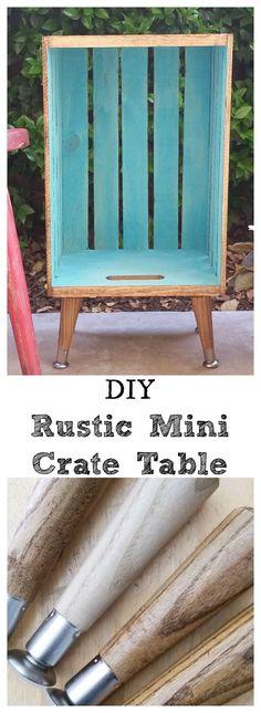 DIY Rustic Mini Crate Table - Create this mini crate table in a day. #rustic #diy
