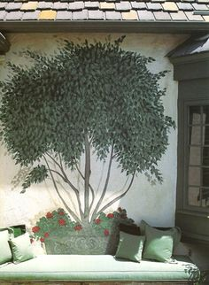 THE neatest outdoor garden decor idea ever. EVER! A wonderful way to transform a small space, and an inspirational idea -- you could do anything with this, anywhere, for that matter. Beautiful mural incorporating seating outdoors as shown, or indoors in the mud room, child's room, little nook, little corner somewhere, but do it! The kiddos can help paint the mural! :)