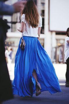 gorgeous blue skirt. It's so fun to find the right shirts to wear with it!