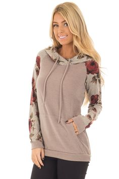 9c487c2dd5 Lime Lush Boutique - Mocha Hoodie with Burgundy Floral Contrast