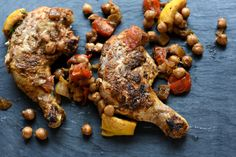 Harissa Chicken Legs with Chickpeas and Tomatoes Harissa Chicken, Chicken Florentine, Chicken Legs, Date Dinner, Sun Dried, Chickpeas, Grocery Store, Tomatoes, Cooking
