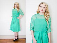 Vintage 1960s Dress  Green Silk Chiffon by dejavintageboutique
