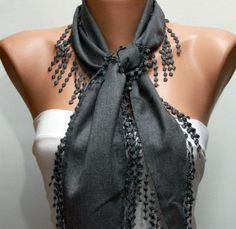 ON SALE  Gray Scarf    Pashmina Scarf   Cowl with Lace by fatwoman, $14.40