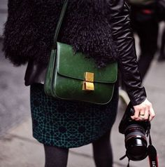 Celine Box Bag. The bag really makes the outfit! http://dresslikeaparisian.com/how-to-wear-accessories/