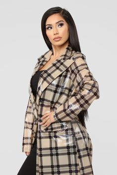 Who's Lurking Trench Coat - Beige Pvc Raincoat, Raincoat Jacket, Trench Coat Outfit, Plaid Coat, Raincoats For Women, Rain Wear, Mantel, Vogue, Beige