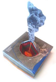 Finished model of a volcano