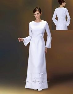 "A previous pinner titled this pic ""modest wedding dress"" - it looks more like an LDS temple dress to me. Very pretty for that purpose."