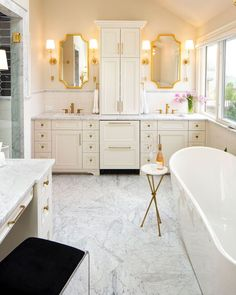 Dreaming of your own personal spa? If it's time to update your primary bathroom with opulent details, try our favorite, luxe gold accessories ✨ Our bronzed finishes like Brushed Bronze or Honey Bronze will set the tone for the ultimate residential retreat 🧖🏿♀️ Spa Like Bathroom, Bathroom Accessories, Gold Accessories, Master Room, Knobs And Handles, Cabinet Hardware, Clawfoot Bathtub, Kitchen And Bath, Double Vanity