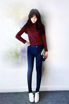 funnel neck striped slim college knitted Sweaters - striped v neck sweater, funnel neck sweater