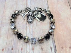 Pittsburgh Penguins Championship bracelet,Swarovski,Black And Gold,Hockey,Sports Jewelry,Hockey Charms,Great Gift,DKSJewelrydesigns