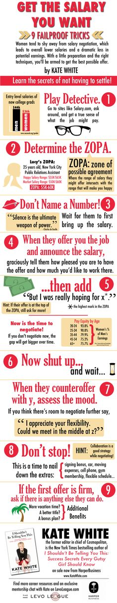 infographic 9 Failproof Salary Negotiation Tricks from Kate White ~ Levo League. Image Description 9 Failproof Salary Negotiation Tricks from Kate White Job Resume, Resume Tips, Resume Skills, Resume Examples, Job Career, Career Advice, Career Goals, Career Planning, Career Change