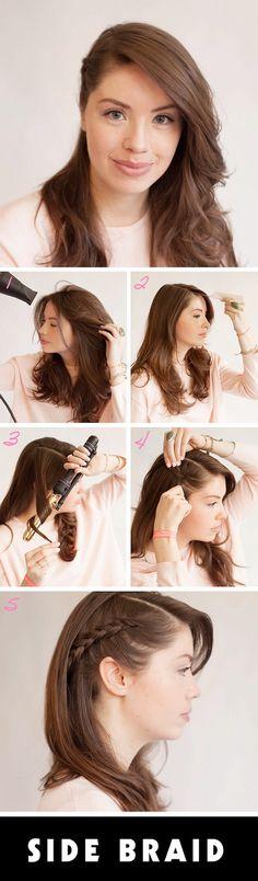 16 Ideas For Hair Styles Suelto De Lado - Peinados de la s mujeres Pigtail Hairstyles, Side Hairstyles, Party Hairstyles, Trendy Hairstyles, Braided Hairstyles, Updo Hairstyle, Wedding Hairstyles, Prom Hair Medium, Simple Prom Hair