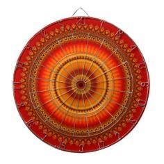 Mandala - orange and yellow dartboard
