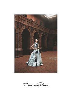 Carolyn Murphy wears ruffle embellished pieces stars in Oscar de la Renta spring summer 2016 campaign