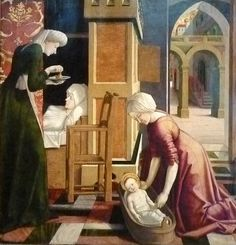 The Birth of the Virgin Mary, from the workshop of Michael Pacher. 1465.