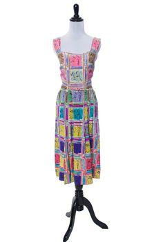 RARE Gilbert Adrian 2 piece silk dress and wrap top native novelty print SOLD