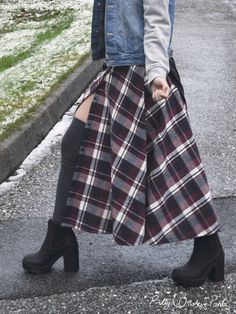 diy plaid maxi skirt with button-up front