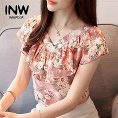 f1f2f3118 2018 Moda Verão Blusas Femininas Camisas Plus Size Floral Tops Senhoras  Babados Blusa de Manga Curta Chiffon Blusas Feminina Mujer