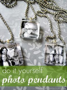More gift ideas. DIY photo pendant tutorial a neat idea if I could find the supplies Diy Photo, Photo Craft, Photo Pin, Do It Yourself Baby, Do It Yourself Jewelry, Cute Crafts, Crafts To Make, Arts And Crafts, Stick Crafts