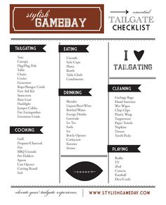 Updated tailgate supplies checklist.