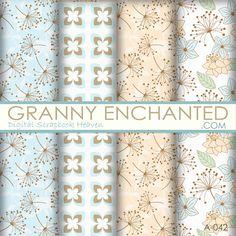 A-042 Dandelion Fluff Digital Scrapbook Paper Pack - GrannyEnchanted.Com