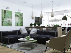 Green accents from the wall art to the area rug to various plants sprouting around the space give it a very lively feel. A deep and soft navy blue sofa brings a water element into the sunny space and makes the white walls really pop. Green Interior Design, Apartment Interior Design, Interior Decorating, Living Room Themes, Living Room Green, Green Theme, White Walls, Outdoor Furniture Sets, Water Element